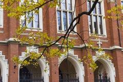 Jagiellonian universitet i Krakow Polen den främre ingången, historisk medeltida byggnad med röd tegelsten Arkivbild
