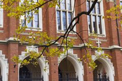 Jagiellonian University in Krakow Poland front entrance, historical medieval building with red brick Stock Photography