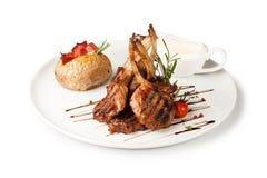 Jagnięcego kotlecika posiłek z grulą Fotografia Stock