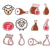 Jagnięcy mięso, noga baranek, jagnięcy giczoły i ziobro ikony ustawiający, Zdjęcia Royalty Free