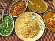 Jagnięcego curry'ego i kukurudzy szpinak Thali Obraz Royalty Free
