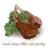 Jagnięcych kotlecików BBQ ilustracji