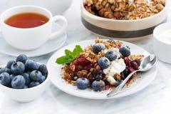 Jagoda rozdrobni z owies czarnymi jagodami dla śniadania i płatkami obrazy stock