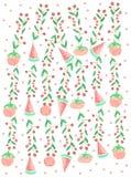 Jagodowi arbuzy z polki akwarelą Obraz Stock
