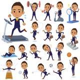 Jagodowi Krótkiego włosy biznesmena black_Sports & ćwiczenie ilustracja wektor