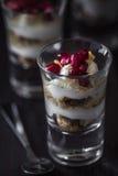 Jagodowy ciastka i jogurtu Parfait strzelający Fotografia Stock