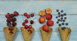 Jagodowy i owocowy lody Czarna jagoda, truskawka, wiśnia, morela w gofrze zdjęcie wideo