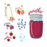 Jagodowy koktajl dla zdrowego życia Smoothies z czarną jagodą, migdału mlekiem, malinką i winogronem, Przepisu jarosz organicznie Obrazy Stock
