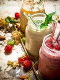 Jagodowy smoothie robić od rodzynków, agrestów i malinek z dokrętkami, Obrazy Royalty Free