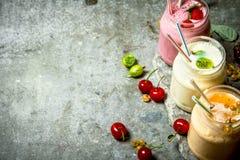 Jagodowy smoothie robić od malinek, rodzynków i agrestów, Zdjęcie Royalty Free