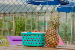 Jagody ananasowy jedzenie i stół Obrazy Royalty Free