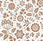 Jagody i gałązki, dekoracyjny tło brown, bezszwowy, biały, wektor Obrazy Royalty Free