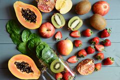 Jagody i owoc dla smoothie Zdjęcia Stock
