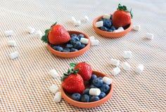 Jagody, marshmallows w małych glinianych naczyniach Obraz Stock