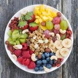 Jagody, owoc, dokrętki i granola, Obraz Stock