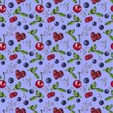 Jagody, słodki naturalny deser na błękitnym, bezszwowym akwarela wzorze, ilustracja wektor