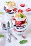 jagody zamknięta kremowego deseru lodu malinka zdjęcie royalty free