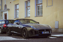 Jaguar Car on the street of the old town. TALLINN/ESTONIA - JUNE 14, 2015: Jaguar Car on the street of the old town, Tallinn, Estonia Stock Photo