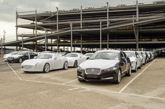 Jaguar Cars ready for Export. SOUTHAMPTON, UK - MAY 31, 2014:  Rows of newly-built Jaguar cars parked at Southampton docks before being exported Royalty Free Stock Photos