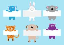 Jaguar cat, elephant, rabbit, koala, dog, hippo hanging on paper board template set. Cute cartoon funny character. Kawaii animal. Baby card. Flat design. Blue stock illustration
