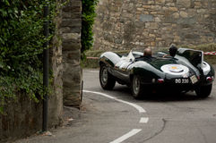 Jaguar D-Type at Bergamo Historic Grand Prix 2015 Stock Images