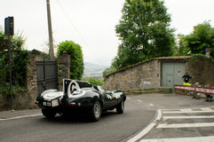 Jaguar D-Type at Bergamo Historic Grand Prix 2015 Royalty Free Stock Photography