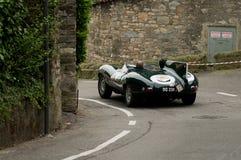 Jaguar-D-Type bij de Historische Grand Prix 2015 van Bergamo Stock Foto