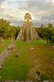 Jaguar de Gran del templo en Tikal Foto de archivo