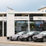 Jaguar dealership. In germany - copy space in the sky Royalty Free Stock Images