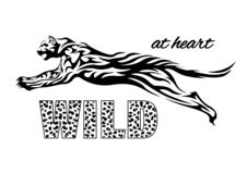 Jaguar-drukt-shirt Sloganwildernis bij hart royalty-vrije stock foto's