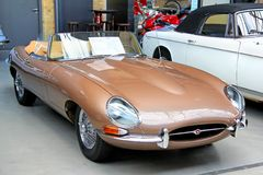 Jaguar E-Type. BERLIN, GERMANY - AUGUST 12, 2014: British classic vehicle Jaguar E-Type in the museum of vintage cars Classic Remise royalty free stock image