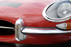 Jaguar E-type chrome nose. The front of an iconic British car of the 1960s Royalty Free Stock Images