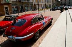 Jaguar-e-Type MkII bij circuito Di Zingonia 2014 Stock Fotografie