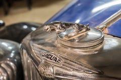 Jaguar emblem (Jaguar i hoppet) på den mycket gamla Jaguar bilen royaltyfri foto
