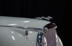 Jaguar emblem (Jaguar i hoppet) på den tappningJaguar bilen arkivfoto