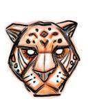 Jaguar enfrenta mão digital a ilustração tirada fotografia de stock royalty free