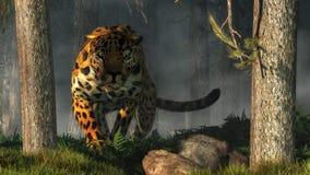 Jaguar environ à sauter illustration stock