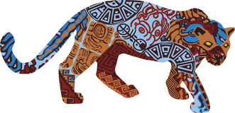 Jaguar in the ethnic pattern of Indians Stock Images