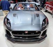 Jaguar F typ SVR eksponat przy 2016 Nowy Jork Międzynarodowym Auto przedstawieniem Obrazy Stock