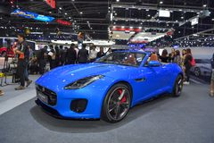 Jaguar F-Type car on display at The 35th Thailand International Motor Expo on November 28 royalty free stock photos
