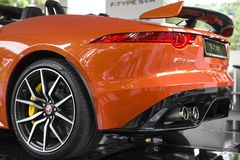 TURIN, ITALY - JUNE 9, 2016 A Jaguar F-Type SVR on display at Turin open air car show. A Jaguar F-Type SVR on display at Turin open air car show royalty free stock image