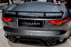Jaguar F Type SVR exhibit at the 2016 New York International Aut. NEW YORK - March 23: Jaguar F Type SVR exhibit at the 2016 New York International Auto Show Royalty Free Stock Photos