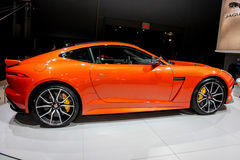A Jaguar F Type SVR exhibit at the 2016 New York International A. NEW YORK - March 23: A Jaguar F Type SVR exhibit at the 2016 New York International Auto Show Royalty Free Stock Photos