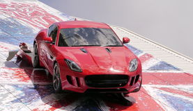 The Jaguar F type on the wall of the Birmingham factory UK Stock Image