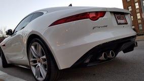 Jaguar F TYPE white rear stock image