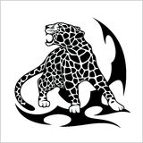 Jaguar Flame Tattoo. Isolated on white. Vector illustration Stock Photos