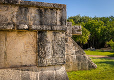 Jaguar heads of the Venus Platform at Ancient Maya Ruins of Chichen Itza - Mexico Stock Images
