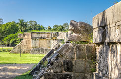Jaguar heads of the Venus Platform at Ancient Maya Ruins of Chichen Itza - Mexico Royalty Free Stock Photography