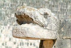 Jaguar heads of the Venus Platform, Chichen Itza Stock Photo