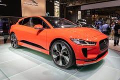 Jaguar i-PACE electric car. PARIS - OCT 2, 2018: Jaguar i-Pace car showcased at the Paris Motor Show stock photo